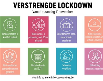 Verstrengde lockdown vanaf 2 november